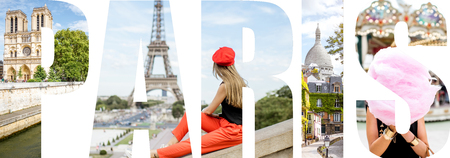 パリの手紙パリ市、フランスで有名な場所の写真がいっぱい 写真素材