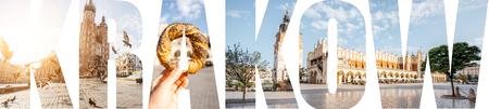 クラクフ市の有名な場所や都市景観の写真で満たされたKRAKOWの手紙, ポーランド