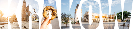 KRAKOW letters filled with pictures of famous places and cityscapes in Krakow city, Poland Фото со стока