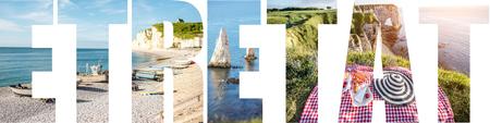 エトレタットの町の美しい風景の写真で満たされたETRETATの手紙, フランス 写真素材