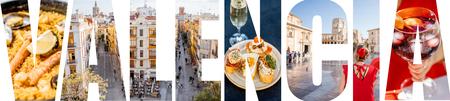 Letras de VALENCIA llenas de imágenes de lugares famosos y paisajes urbanos en la ciudad de Valencia, España Foto de archivo