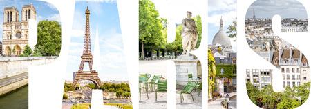 パリの都市、フランスの有名な場所の写真で満たされたパリの手紙