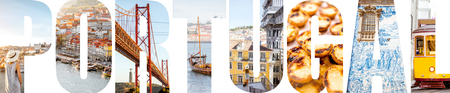 Portugal letters filled with pictures of famous places and landmarks in Portugal