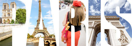 Paris letters filled with pictures of famous places in Paris city, France 写真素材