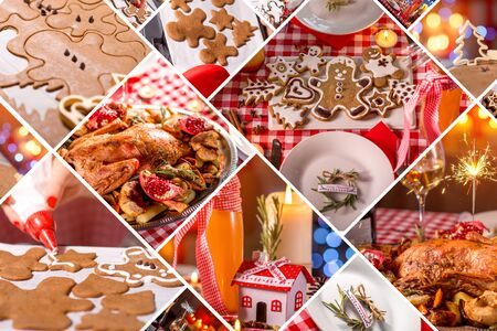 Collage of photos with beautiful Christmas decoration