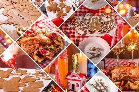Collage van foto's met prachtige kerstversiering