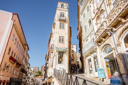 COIMBRA, PORTUGAL - September 26, 2017: View on the street with beautiful buildings in the old town of Coimbra city, Portugal Editorial