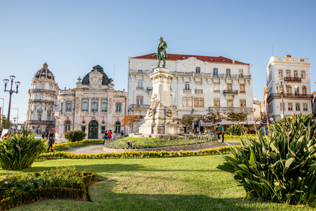 COIMBRA, PORTUGAL - September 26, 2017: View on the beautiful square with Joaquim Augusto statue in Coimbra city during the sunset in the central Portugal