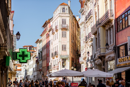 COIMBRA, PORTUGAL - September 26, 2017: View on the crowded with tourists street in the old town of Coimbra city, Portugal Editorial