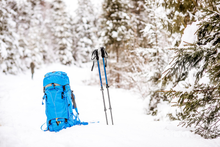 Blue backpack and tracking sticks at the snowy fir forest. Winter hiking concept Stock fotó - 91961073