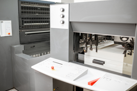 Offset printing machine filled with paper at the manufacturing