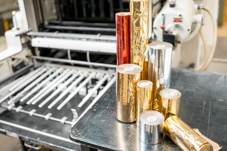 Foil rolls for stamping on the press machine at the printing manufacturing