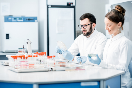 Couple of medics in uniform making bacteriological tests sitting in the modern laboratory
