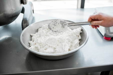 Weighing ingredients for baking with professional scales