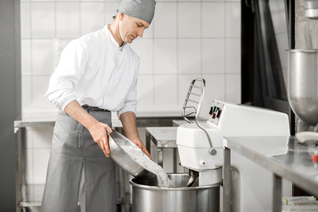Man confectioner in uniform mixing dough with kneader machine at the manufacturing