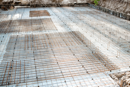 Reinforced concrete slab with reinforcing mesh on the structure during the uilding process