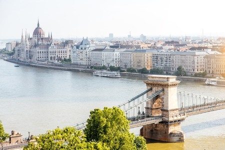 Landscape view on Budapest city with Chain bridge and famous Parliament building during the morning light in Hungary