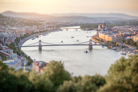 Landscape aerial view on the river with famous Chain bridge during the sunset in Budapest city, Hungary Stock Photo