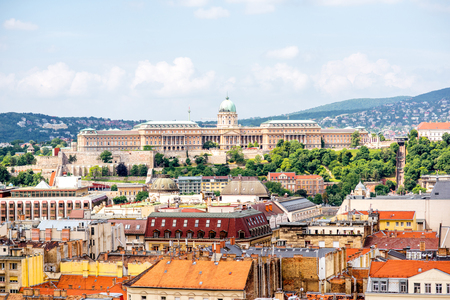 Aerial cityscape view from saint Stephen church on the old town with Buda castle in Budapest city, Hungary