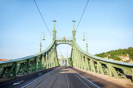 View on the famous Liberty bridge during the morning light in Budapest, Hungary