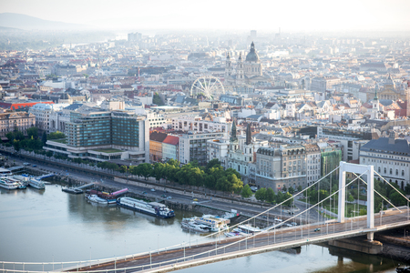 Aerial view on Budapest city with Elisabeth bridge and st. Stephen church during the morning light in Hungary Stock Photo