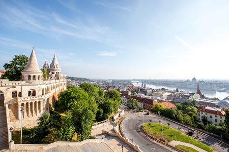 Cityscape view on Budapest with Fishermans bastion during the morning light in Hungary Reklamní fotografie - 103187377