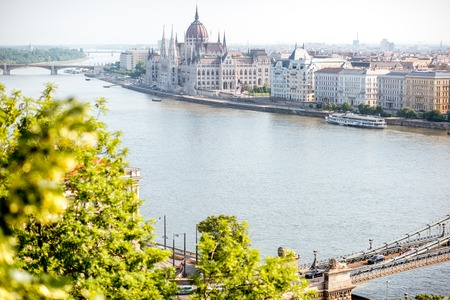 Landscape view on Budapest city with famous Parliament building on Danube river during the morning light in Hungary