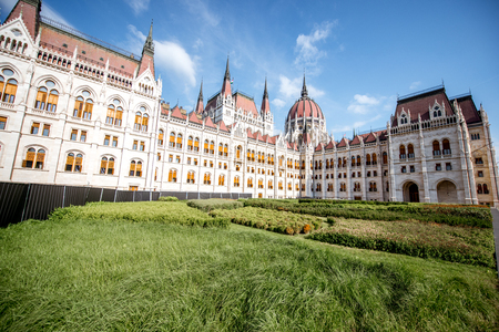 View on the famous Parliament building during the sunny morning light in Budapest city, Hungary