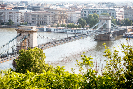 Landscape view on Budapest city with Chain bridge on Danube river during the morning light in Hungary 写真素材