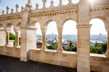 Balustrade of Fishermans bastion in Budapest city, Hungary