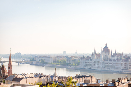 Cityscape view on the Budapest city with famous parliament building during the daylight in Hungary