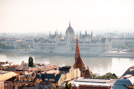 Cityscape view on the Budapest city with famous parliament building on Danube river in Hungary