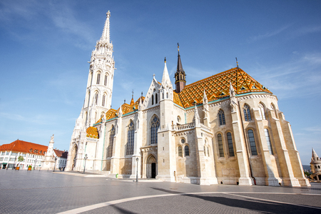 Morning view on the famous Matthias church on Trinity square in Budapest, Hungary