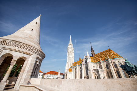View on Matthias church with Bastion tower during the morning light in Budapest, Hungary Фото со стока
