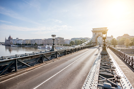 Cityscape view on the famous Chain bridge and Pest riverside in Budapest, Hungary
