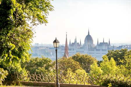 Cityscape view on the famous parliament building with park in Budapest city, Hungary 写真素材