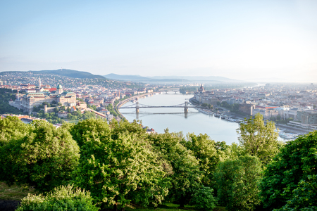 Panoramic aerial view on Budapest city with Danube river during the morning light in Hungary