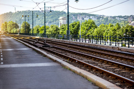 Railway near the Danube river during the morning light in Budapest city, Hungary Stock Photo