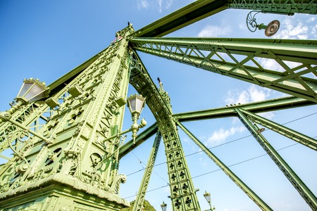 Close-up view on the famous Liberty bridge during the morning light in Budapest, Hungary