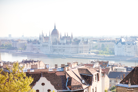 Cityscape view on the Budapest city with famous parliament building in Hungary