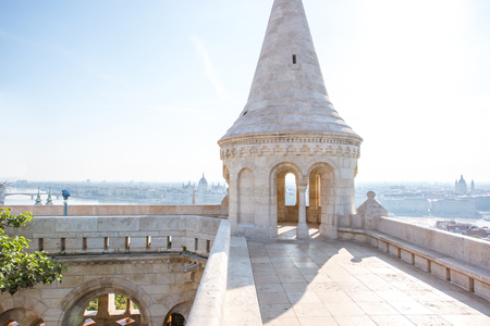 Fishermans bastion terrace with tower and cityscape view on Budapest city in Hungary