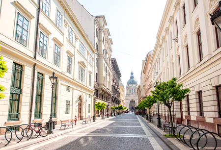 Street view with famous saint Stephen cathedral in Budapest city, Hungary Stock Photo
