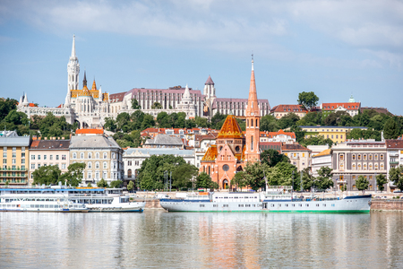 View on the Buda riverside with famous fishermans bastion in Budapest city, Hungary