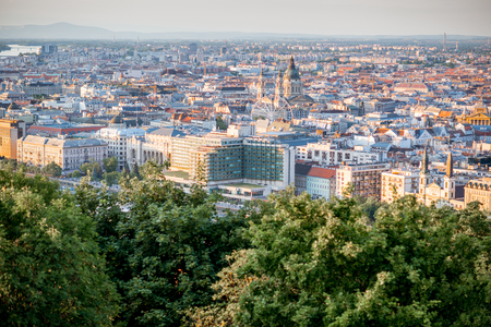 Aerial view on Budapest city with saint Stephen church during the sunset in Hungary