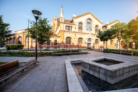 Morning view on the famous Great market hall building in Budapest city, Hungary Stock Photo