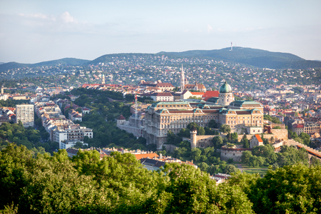 Aerial view on Budapest city with Buda castle during the morning light in Hungary