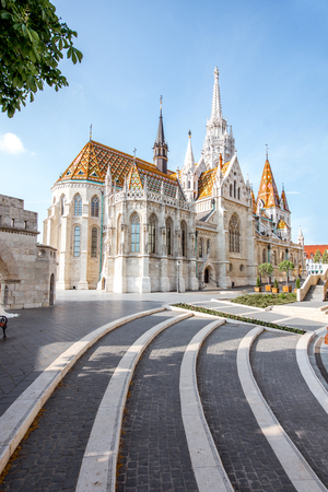 Morning view on the famous Matthias church on the Trinity square in Budapest, Hungary Stockfoto