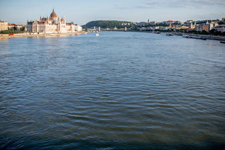 Landscape view on the famous parliament building on Danube river during the sunset in Budapest city, Hungary Stock Photo