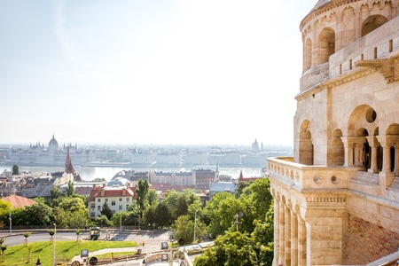 View on the wall of Fisermans bastion and Budapest city during the daylight in Hungary Stock Photo