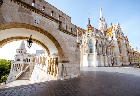 Morning view on the arch of Fishermans bastion and Mattias church in Budapest, Hungary